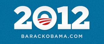 Het officiële logo van de Barack Obama Campagne in  2012. Never change a winning team.