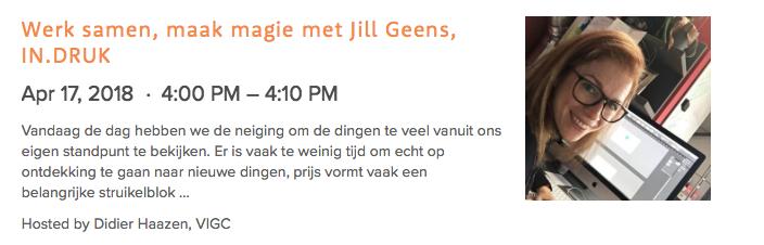 Aankondiging Jill op de site van Pure Digital Show