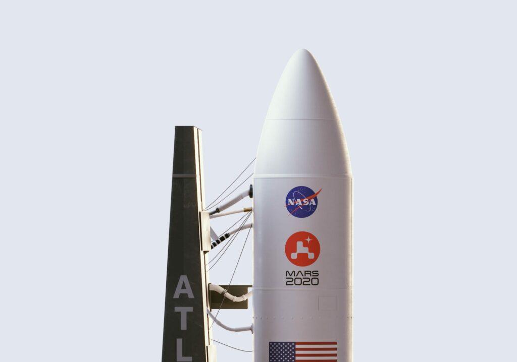 Mars 2020 op een raket